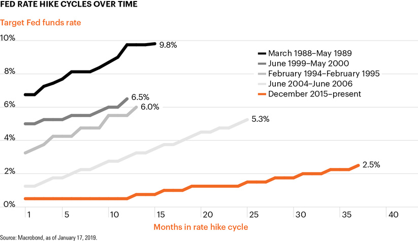Fed rate hike cycles over time